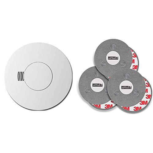 Busch-Rauchalarm® ProfessionalLINE Alkalibatterie & mumbi Magnetbefestigung für Rauchmelder, für Glatte Flächen, Nicht für Rauhfaser oder losen Putz, Ø70mm (3-er Set)