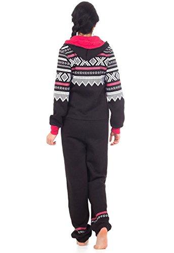 Loomiloo® Jumpsuit Freizeitanzug Overall Hausanzug Einteiler Strampler Body Anzug Jumpsuits Overalls Pyjama Norweger Muster (Schwarz) - 4