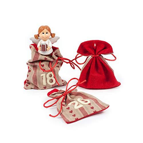 Adventskalender zum Befüllen Besinnliche Zeit 24 Stoffbeutel Geschenksäckchen Weihnachten, Weihnachtskalender DIY von pajoma