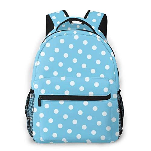 Lawenp Mochila Unisex de Moda Mochila sin Costuras con Puntos Azules Mochila Ligera para portátil para Viajes Escolares Acampar al Aire Libre