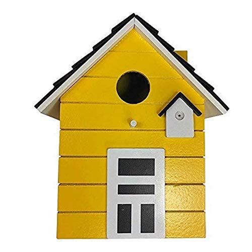CasaJame Holz Vogelhaus für Balkon und Garten, Nistkasten, Haus für Vögel, Vogelhäuschen, Gelb als Deko, 20 x 17 x 12cm