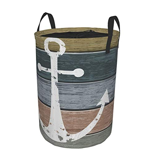 Laundry Basket Bags with HandlesTimeworn Marine Pattern And Grunge Weathered Wooden Planks Rustic Style NauticalWaterproof Washing Bin Foldable Dirty Hamper for Storage kids Clothes toy M