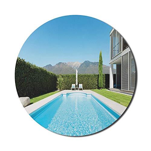 Modernes Mauspad für Computer, moderne Villa mit Blick auf den Pool vom Garten Immobilien Zeitgenössisches Eigentum, rundes, rutschfestes, dickes Gummi Modernes Gaming-Mousepad, 8 'rund, weiß, blau, g