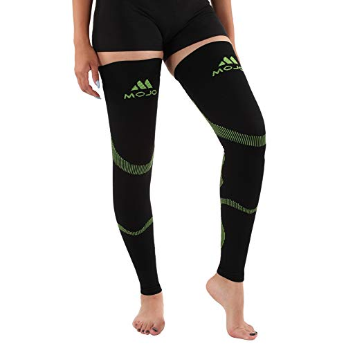 Mojo Compression Stockings 20-30mmHg Thigh Hi Leg Sleeve Graduated Support Socks Recovery Sports for Calf & Quads - Black/Green Medium A609BG2