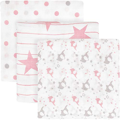 "TILLYOU 3-Pack Soft Muslin Swaddle Blankets Set(70% Bamboo&30% Cotton), Breathable Lightweight Nursery Receiving Blankets Wrap for Baby Boys or Girls, Pink Elephant/Star/Polka Dot, 47""x47"" Large"