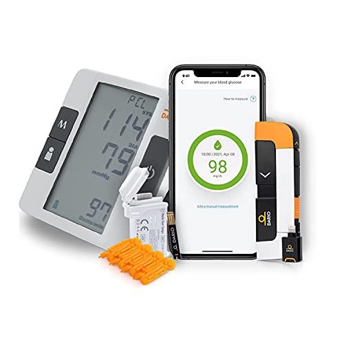 Bundle & Save Dario Diabetes Blood Glucose Meter Kit. Test Blood Sugar Estimate A1c. All-in-One Smart Blood Sugar Monitor Test Strips + Lancets (iPhone Only) + Bluetooth Blood Pressure Monitor