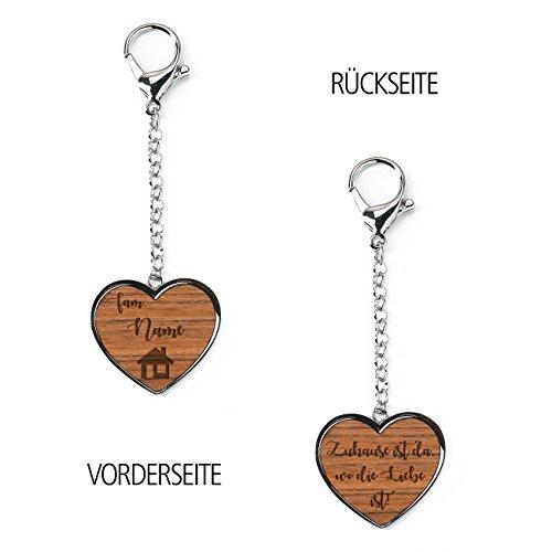 Herz & Heim® Schlüsselanhänger Metall in Herzform mit Holz - Zuhause ist da, wo Liebe ist - mit Gravur des Familiennamen