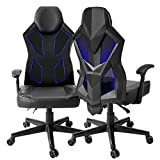 Gaming Chair, Bonzy Home Video Game Chairs Mesh Ergonomic High Back Racing Style Computer Chair for Adults with LED and Lumbar Support (Black)