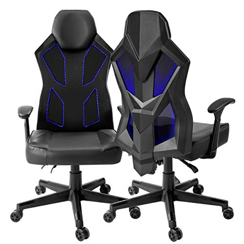 Gaming Chair, Bonzy Home Video Game Chairs Mesh Ergonomic High Back Racing Style Computer Chair for Adults with LED and Lumbar Support (Black) chairs Dining Features Game Kitchen Video
