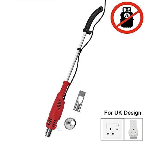 Hochwertiger elektrischer Unkrautbrenner mit 2 Modi, bis zu 650 °C, 2000 W, 230 V, elektrischer Unkrautbrenner für Garten, Terrasse, Auffahrt, rot, UK-Stecker
