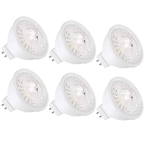 MR16 LED Bulb 12V Non-Dimmable GU5.3 5000K Daylight 5W(50W Halogen Equivalent) 500LM 40 Degree Spot Flood Light for Track, Recessed, Outdoor Landscape Lighting 6-Pack
