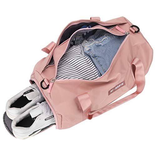 Small Sports Gym Bag for Women, Waterproof Weekender Travel Duffel Bag for Women & Men, Overnight Tote Carry On Bag with Shoes Compartment & Wet Pocket