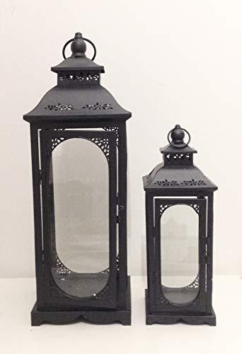 Link Products - Set di 2 lanterne alte, in metallo e vetro, perfette per matrimoni