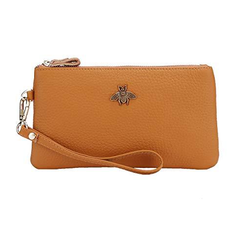 Women's Wristlet Wallet, Leather Clutch Purse with Wrist Strap (Yellow)