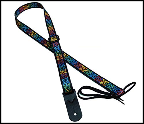 "Legacystraps 1"" Strap for A & F type Mandolin, Ukuleles and Guitars in Celtic Knot Multicolor with 1 end tab"