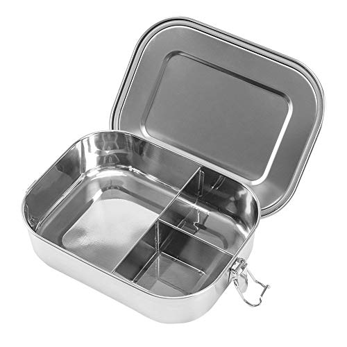 Stainless Steel Bento Box Lunch Containers For Adults Stainless Steel Lunch Box Leakproof 3 Compartment Metal Bento Lunch Box Food Container For Kids (1400ml/47oz)