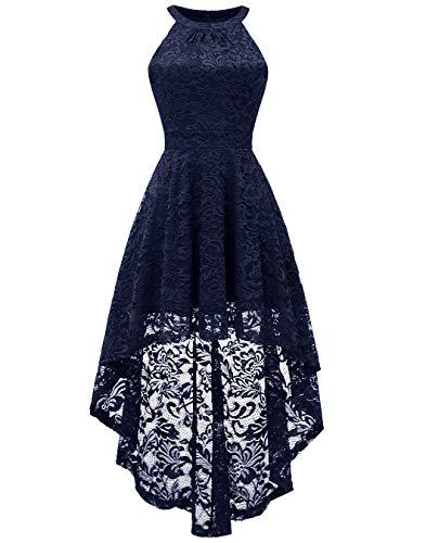 BeryLove Damen Vokuhila Cocktail Kleid Elegant Halter Spitzenkleid Brautjungfern Blumenmuster BLP7028NavyL