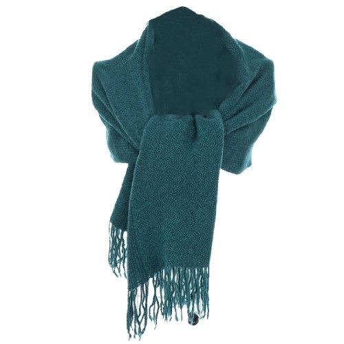 Allegra K Ladies Fashion Two-Tone Knitted w Fringe Long Shawl Scarf Turquoise One Size