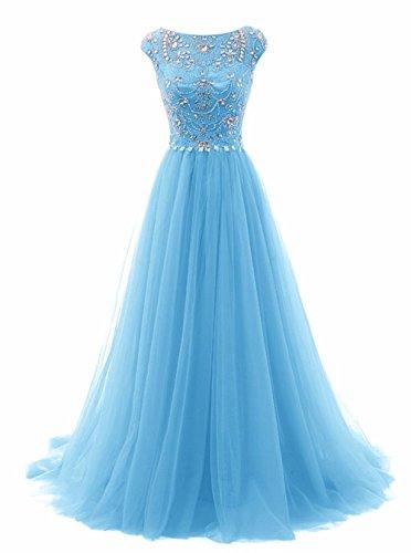 Promworld Women's Wedding Bridesmaid Dress Cap Sleeve Crystal Tulle Long Prom Dresses Blue US20