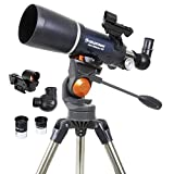 Celestron - AstroMaster 80AZS Refractor Telescope - Refractor Telescope for Beginners - Fully-Coated Glass Optics - Adjustable-Height Tripod - BONUS Astronomy Software Package