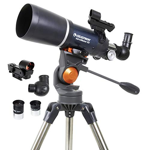 Celestron - AstroMaster 80AZS Refractor Telescope - Refractor Telescope for Beginners - Fully-Coated Glass Optics - Adjustable-Height Tripod - BONUS Astronomy Software Package