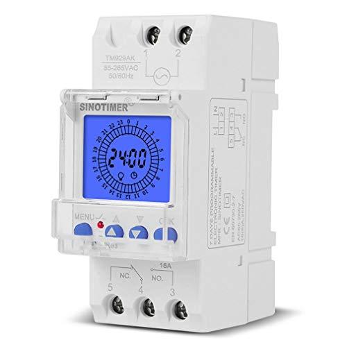 HehiFRlark Interruptor de Tiempo analógico Digital de 24 Horas Intervalo de 15 Minutos con 96 Encendido/Apagado Cada día Blanco 16A TM929AKL
