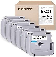 Ziprint 6-Pack MK231 Compatible with M Tape MK-231 M-K231 M231 M-231 Label Tape for P-Touch PT-90 PT-M95 PT-70 PT-70BM PT-85 PT-80 PT-45 PT-65 Printer Black on White, 0.47inch(12mm) x 8m(26.2ft)