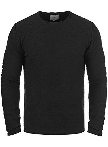 Redefined Rebel Mace Herren Strickpullover Feinstrick Pullover Mit Rundhals Aus 100% Baumwolle, Größe:L, Farbe:Black
