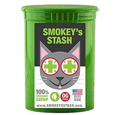 Smokey's Stash Organic Catnip OG puss Potent cat nip for Cats Small pop top
