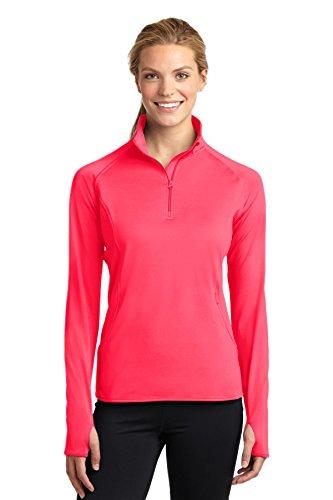 Sport-Tek Women's Sport Wick Stretch 1/2 Zip Pullover L Hot Coral