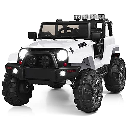 Costzon Ride On Truck, 12V Battery Powered Electric Ride On Car w/ 2.4 GHZ Parental Remote Control, LED Lights, Double Doors, Safety Belt, Music, MP3 Player, Spring Suspension (White)