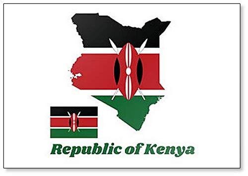 Kühlschrankmagnet, Motiv Karte & Flagge von Kenia