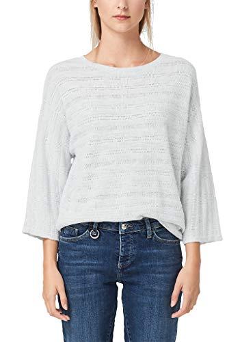 s.Oliver Damen Pullover mit Ajourmuster frosty grey melange S