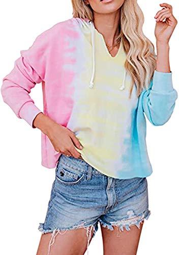EFOFEI Sudadera con capucha de efecto Tie-Dye para mujer, holgada, estilo casual, manga larga, color rosa, talla M