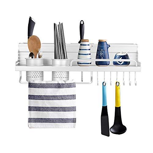 OurLeeme Küche Pan Pot Racks, Edelstahl-Wandmontage-Pot Pan Würzflaschen Regal mit Besteckhaken, Essstäbchen-Utensilienhalter, Messerschlitze, Handtuchhalter-Küchenregal (50cm)