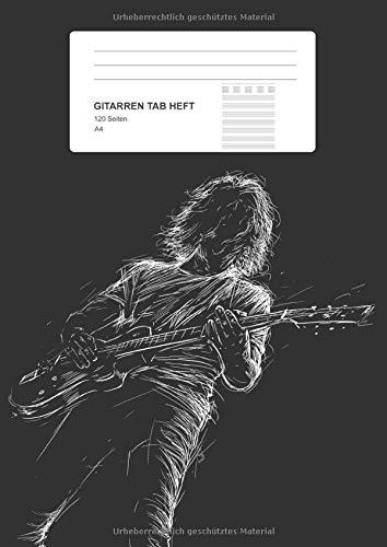 Gitarren Tab Heft: Gitarren Notizbuch mit 8 Tabs, 120 Seiten als Softcover, Größe: A4