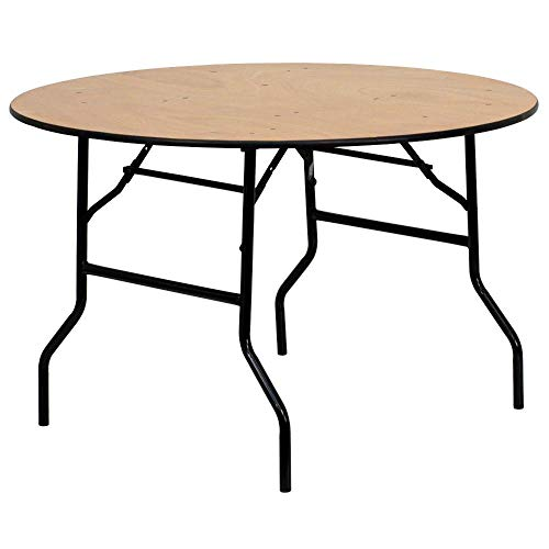 Flash Furniture 4-Foot Round Wood Folding Banquet Table with Clear Coated Finished Top