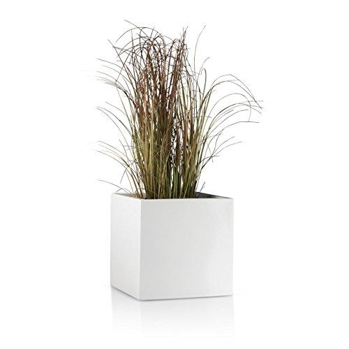 Pflanzkübel CUBO Fiberglas Blumenkübel - Farbe: weiß matt - robuster, UV-beständiger, wetterfester & frostsicherer Blumentopf für den Garten - TÜV-geprüfte Qualität