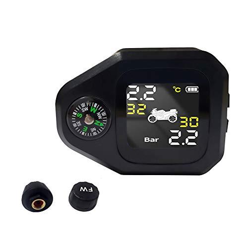 Tidyard Sistema de monitoreo de presión de neumáticos de Motocicleta 2 en 1 Monitor LCD Inteligente en Tiempo Real con C-ompass