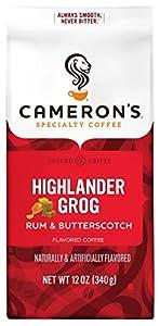 Cameron's Coffee Roasted Ground Coffee Bag, Flavored, Highlander Grog, 12 Ounce