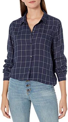 Amazon Brand Goodthreads Women s Modal Twill Long Sleeve Oversized Boyfriend Shirt Navy Grey product image
