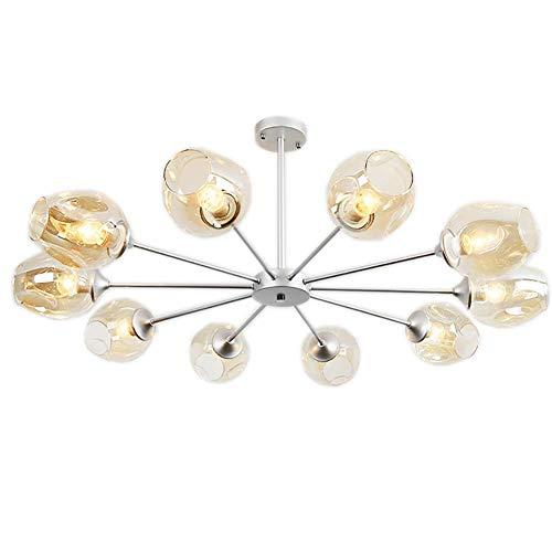 XKUN Iluminación Colgante para Isla de Cocina, Lámpara Colgante de Araña Ajustable de 10 Luces para Sala de Estar, Mesa, Pasillo, Lámpara de Comedor, Cuerpo Plateado, 10 Cabezas, Color Azul