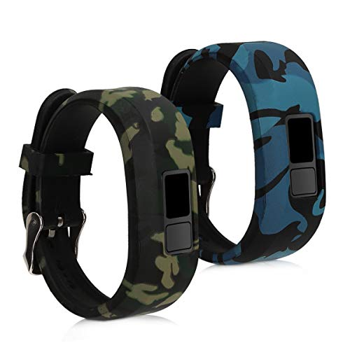 kwmobile Armband kompatibel mit Garmin Vivofit jr. / jr. 2-2X Silikon Fitnesstracker Sportarmband - Camouflage Schwarz Hellgrün Dunkelgrün
