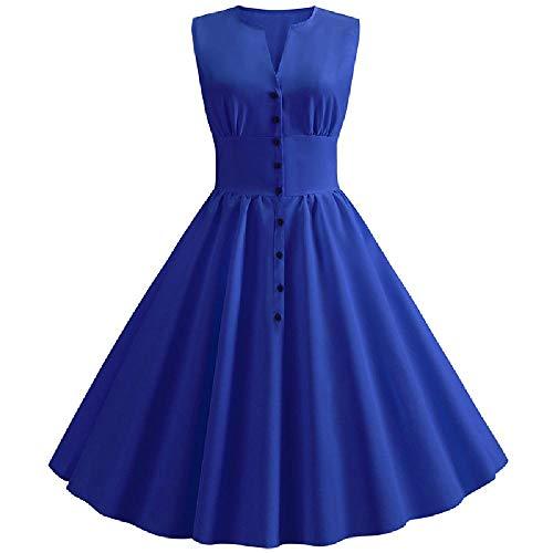 U/A - Vestido de mujer con cuello en V y cuello redondo sin mangas 6 48