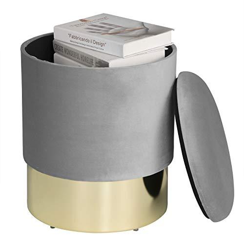 eSituro SOM0084 Samthocker Sitzhocker mit Stauraum, Eleganter Polsterhocker Sofa Couch Hocker, Hocker für Schminktisch Modern Design, Hellgrau