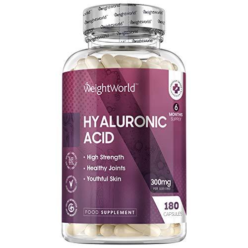Acide Hyaluronique en gélule 300 mg - 180 Gélules Vegan | Peau, Visage, Corps, Articulations - 90% de Hyaluronate de Sodium WeightWorld – Complément Alimentaire Concentré - Hyaluronic Acid