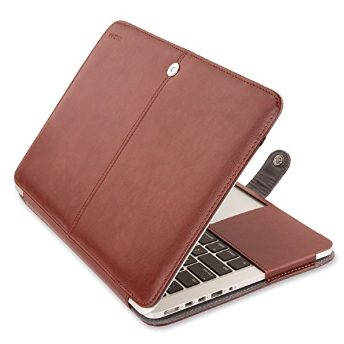 MOSISO PU Leather Case Only Compatible with MacBook Pro 13 Inch with Retina Display No CD-Rom (A1502/A1425, Version 2015 2014 2013 end 2012), Book Folio Cover Sleeve with Stand Function, Brown