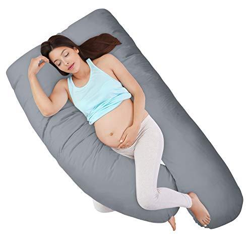 HOMFY Schwangerschaftskissen, U-förmiges Seitenschläferkissen, weiches Lagerungskissen, Stillkissen mit Abnehmbarem und Waschbarem Bezug aus Baumwolle (Grau)