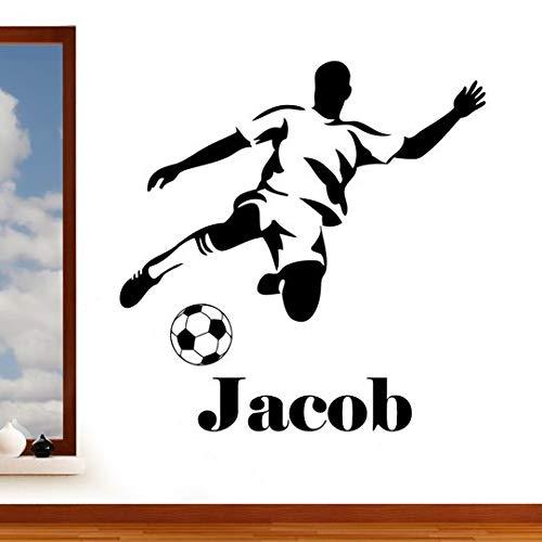Rubybloom Designs Sticker mural personnalisable avec nom, illustration de Joueur de football, thème sport, en vinyle, pour chambre à coucher, salles de jeux, salon, facile à appliquer Large 102cm x 104cm Noir