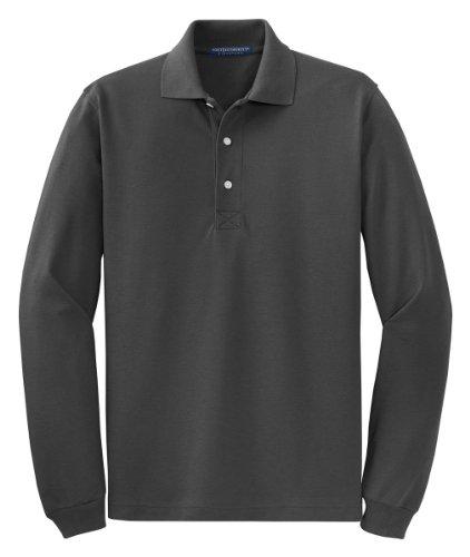 Camisa polo masculina de manga longa respirável Port Authority, Charcoal, X-Large